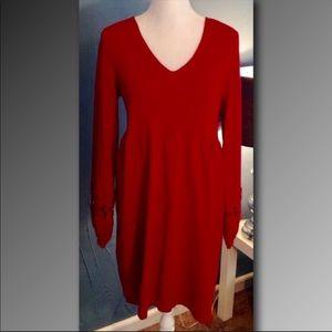 Alfani Red Sweater Dress Tunic Crochet Sleeves 2X